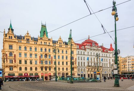 PRAGUE,CZECH REPUBLIC - January 15,2015: Old Town Star Msto by Nmst Republiky square
