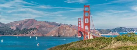 red grass: Panorama of the Golden Gate bridge in clear blue sky with green grass as foreground in San Francisco, USA Stock Photo