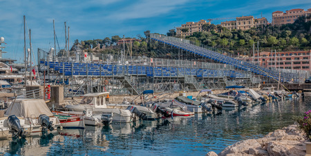 monte carlo: Monte Carlo, Monaco - April 20, 2016:  Empty tribunes in preparation for Formula 1 Monaco Grand Prix in the Monte Carlo Yacht Club marina harbor Editorial