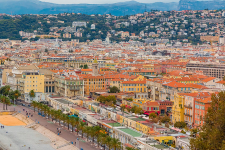 ville: View of Nice cityscape onto the Old Town, Vieille Ville in Nice, French Riviera, France