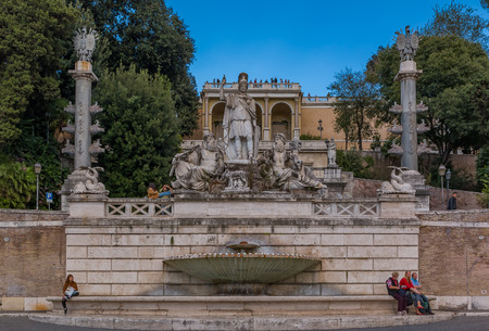 Rome, Italy - October 10, 2016: Fontana della Dea di Roma, Fountain of the Goddess Roma between the Tiber and the Aniene, by Giovanni Ceccarini. Below Roma is a She-wolf, suckling Romulus and Remus