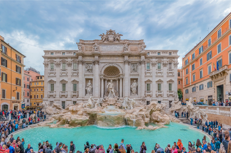 Rome. Italy - October 11, 2016: Panorama of the famous baroque Trevi Fountain (Fontana di Trevi) Editorial