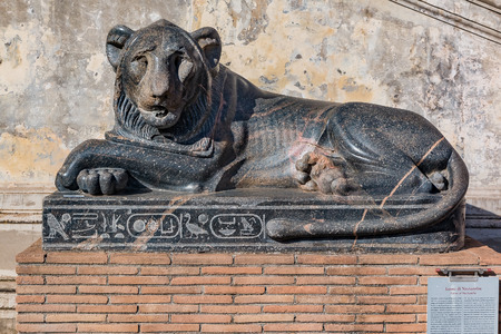 Vatican city, Vatican - October 12, 2016: Ancient egyptian sculpture of Lion of Nectanebo at the Cortile della Pigna (Pinecone courtyard) of the Vatican Museums