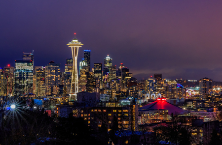 Seattle skyline panorama at sunset view from Kerry Park in Seattle, WA Stock Photo