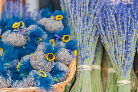 potpourri: Colorful decorative sachets filled with lavender at market at a market in Nice in the South of France