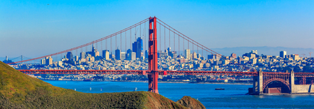 Panorama of the Golden Gate bridge in clear blue sky with green grass as foreground and San Francisco skyline in the background