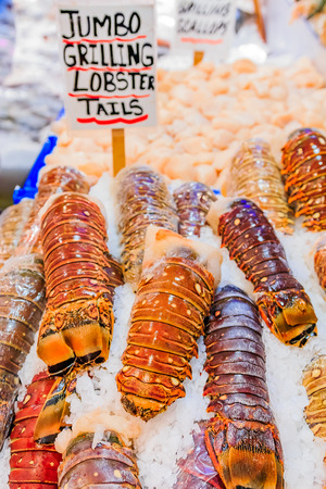 Frozen lobster tails for sale at Pike Place Market in Seattle, Washington Stock Photo