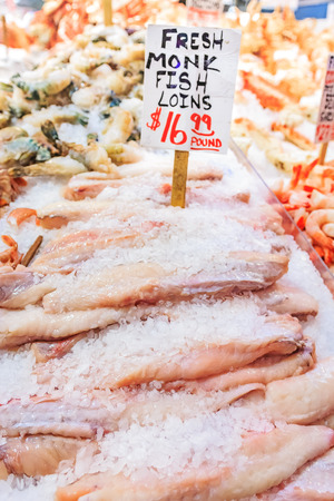 gutted: Fresh monkfish loins on ice for sale at Pike Place Market in Seattle, Washington