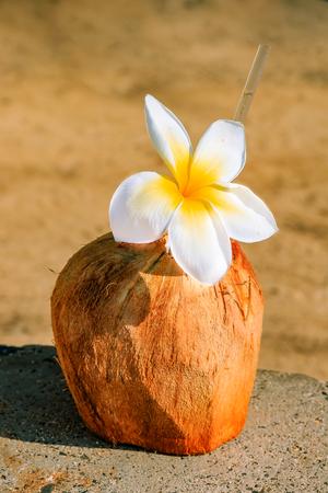 Delicate white plumeria or Frangipani decorating a drink in a coconut shell Stock Photo