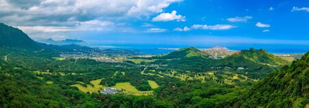 High definition HDR panorama over green mountains and the ocean view from Nuuanu Pali Lookout in Oahu, Hawaii Stock Photo