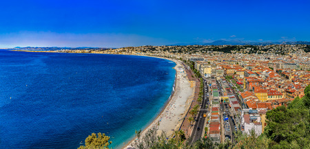 Panoramic view of Nice cityscape onto the Old Town, Vieille Ville in Nice, French Riviera on the Mediterranean Sea, Cote dAzur, France