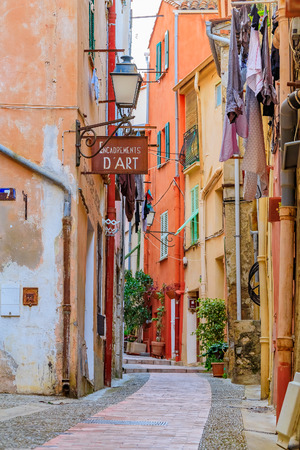 Picturesque narrow streets in the old town of Menton on the French Riviera
