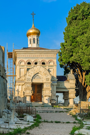 menton: Old Russian Orthodox church in a cemetery of the city of Menton on the French Riviera or Cote dAzur