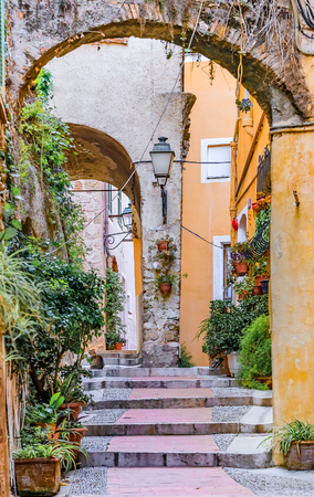 menton: Picturesque narrow streets in the old town of Menton on the French Riviera