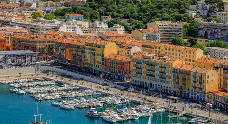 Nice, France - May 26, 2017: View of boats and coastline in Nice port on the Mediterranean Sea, Cote dAzur Editorial