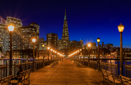scenic view of the embarcadero buildings decorated for christmas