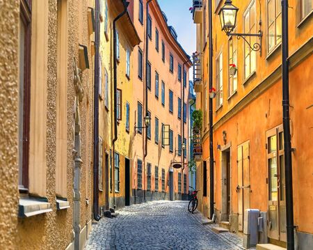 Medieval alleyways, cobbled streets, and archaic architecture in the heart of the old town, Gamla Stan in Stockholm