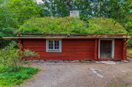 Stockholm, Sweden - August 20, 2017: Preserved traditional swedish old wooden house in Skansen village, open air museum Editorial