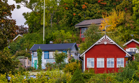 Traditional swedish old houses in the heart of Stockholm, Sweden Stock Photo