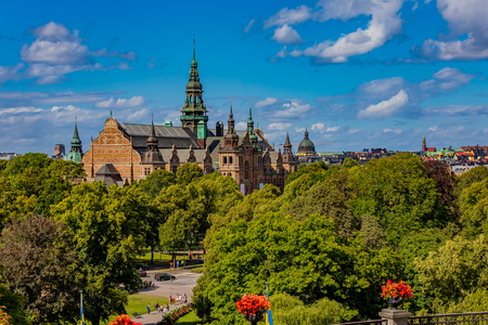 View onto the intricate architecture of the Nordic Museum or Nordiska museet, located on Djurgarden island in Stockholm, Sweeden 免版税图像