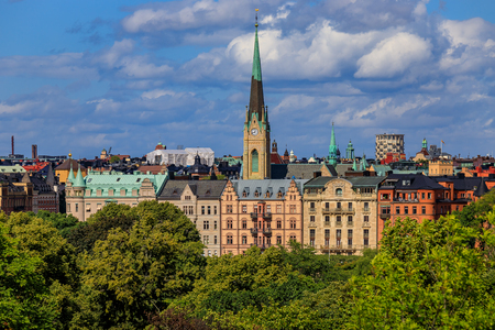 View onto traditional gothic buildings and Oscarskyrkan or Oscar's Church in the Ostermalm district in Stockholm, Sweden