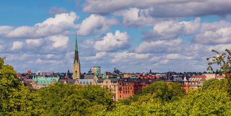 View onto traditional gothic buildings and Oscarskyrkan or Oscars Church in the Ostermalm district in Stockholm, Sweden Stock Photo