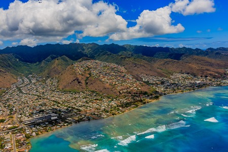 Aerial view Honolulu coastline in Hawaii from a helicopter