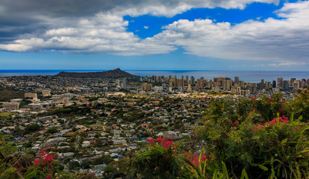 Panoramic view of Honolulu downtown and Diamond Head volcano in Hawaii with tropical flowers in the foreground