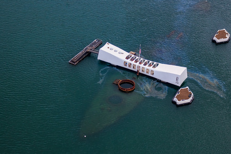 Aerial view of USS Arizona Memorial, World War II Valor In The Pacific National Monument in Pearl Harbor Honolulu Hawaii
