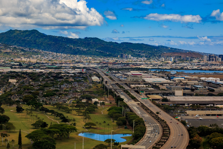 Aerial view of downtown Honolulu and Interstate H-1 in Hawaii from a helicopter