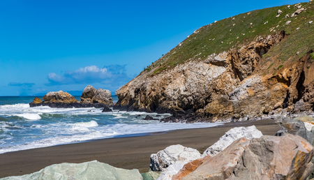 Rugged Northern Californa beach in Pacifica near San Francisco on a sunny day