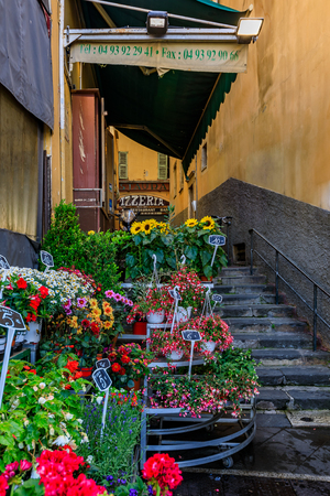 Nice, France - May 24, 2018: Flower at a florist shop in the streets of Old Town