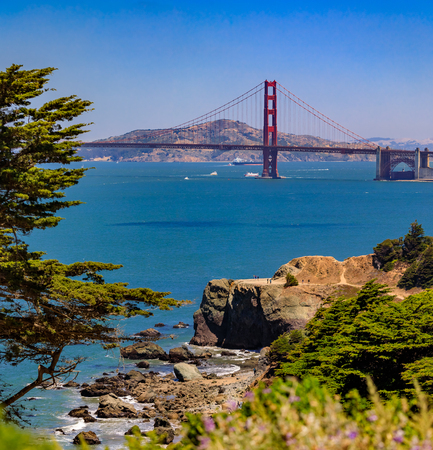 Golden Gate bridge viewed from Presidio on a clear summert day in San Francisco, USA