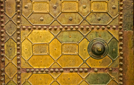 Intricate metal work on the door of the Al Karaouine Koran University in Fez, Morocco, the oldest university in the world