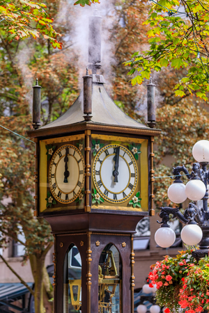 Steam clock in Gastown in Vancouver British Columbia Canada