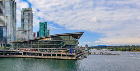 Vancouver, Canada - August 03, 2018: Modern architecture at Burrard Landing and Vancouver Convention Center Editorial