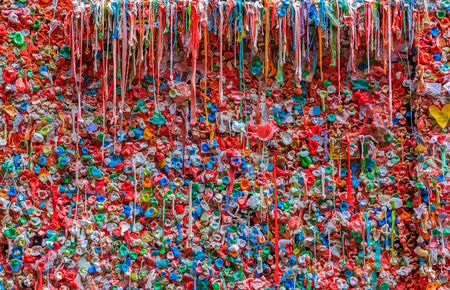 Market Theater Gum Wall in Pike Market in downtown Seattle, Washington Stock Photo