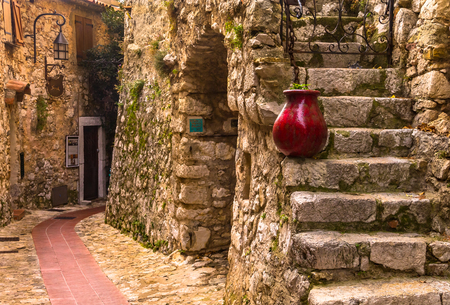 Old buildings in the picturesque medieval city of Eze Village in the South of France along the Mediterranean Sea