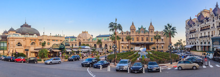 Panoramic view of Place du Casino in Monte Carlo Monaco with Grand Casino and Hotel de Paris with the mirror fountain out front