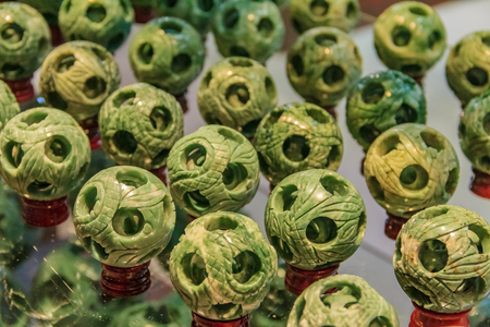 Souvenir jade balls on display for purchase in a jade factory in Beijing China