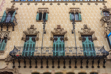 Barcelona, Spain - October 21, 2013: Facade of the famous Casa Amatller, building designed by Antoni Gaudi and one of main tourist attractions in Barcelona.