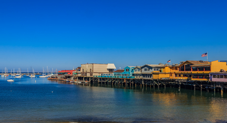 The Old Fisherman's Wharf in Monterey, California, a famous tourist attraction 版權商用圖片 - 114913915