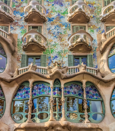 Barcelona, Spain - October 21, 2013: Facade of the famous Casa Batllo, building designed by Antoni Gaudi and one of main tourist attractions in Barcelona.