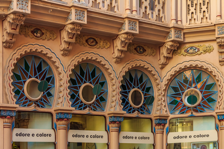 Colorful facade of a buidling with an Antoni Gauid inspired architecture design in Palma de Mallorca in Mallorca on Balearic islands in Spain
