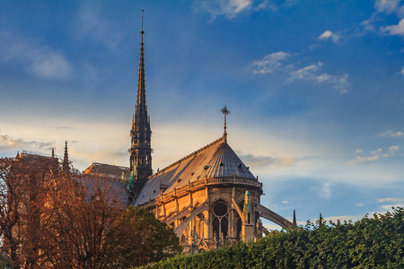 Details of the eastern facade of Notre Dame de Paris Cathedral facade with flying buttresses and ornate gothic spire colored by the warm light of sunset