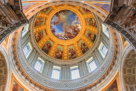 Dome over Emperor Napoleon Bonapartes tomb in Saint Louis Cathedral of Les Invalides museum complex in Paris, France