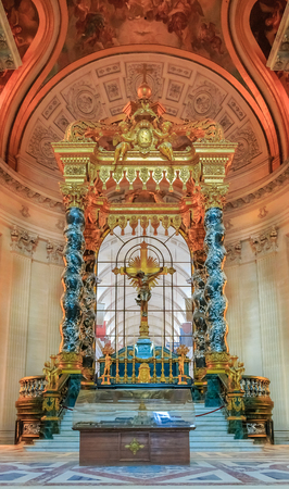 Altar in Saint Louis Cathedral of Les Invalides in Paris France, burial site for Frances war heroes and Napoleon Bonapartes tomb