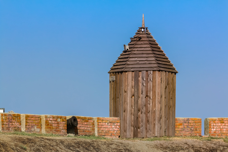 Fortifications and cannons on the ramparts of the Azov fortress founded by Turks of the Ottoman Empire in 1475 and later used for protecting the city from the Turkish invasions in the south of Russia
