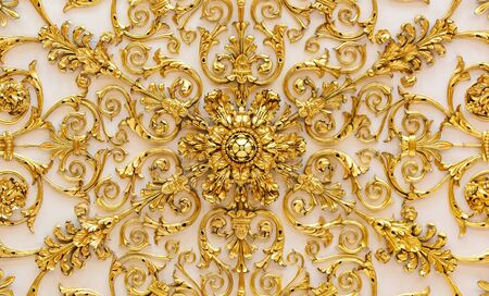 Saint Petersburg, Russia - October 4, 2015: Golden detail of the ornate ceiling of the State Hermitage museum of art and culture in Saint Petersburg, Russia in the Winter Palace Editorial