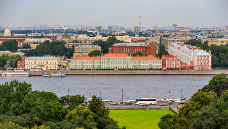 Aerial view of the city skyline with the Senate Square and river Neva with English and University Embankment from the roof of Saint Isaacs Russian Orthodox Cathedral in Saint Petersburg, Russia Фото со стока